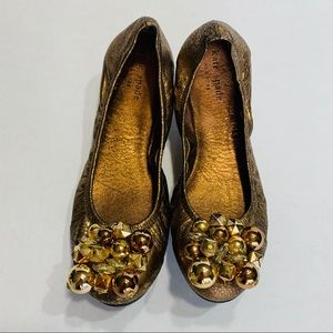 KATE SPADE New York Gold Ballet Leather Flats